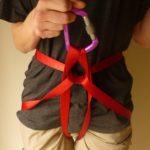 Four options for making an emergency abseiling harness with tape