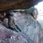 Traversing the half-way ledge of Mt Banks